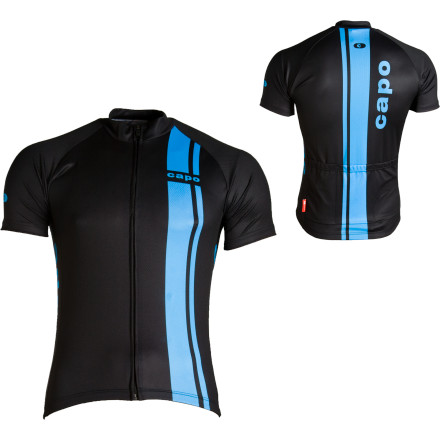 Fitness In the world of cycling branding, there is a fine line between boring and garish. Inevitably, much of the designs are dictated by subjectivity, but there are some very clear rules that can be followed: black is always in and racing stripes are classically chic. Thats one reason why we like the Capo Riserva Short Sleeve Jersey. An occasion when form follows function, the Riserva will not only be the best looking jersey youll wear all season, but its cut and performance will give you a taste of what a top drawer jersey should be.As with the Riserva Long Sleeve Jersey, the Riserva Short Sleeve makes use of the Micro Quattro fabric which has a silky suppleness and wicks moisture away from the skin in order to evaporate before building up and compromising your bodys temperature regulation. What makes this fabric different from the version used in the heavier long sleeve Riserva is that Capo weaves in its special Silver fabric to increase the rapid-drying properties, especially around perennially moist areas like the arm pits. The Micro Quattro with Silver material also boasts an effective anti-bacterial protection that will keep you from smelling yourself when stopped at traffic lights.The race fit will feel aero and sleek without any excess fabric flapping in the wind. Capo includes a silicon gripper waistband to keep it in place, even if your pockets are full and youre hammering away in the drops. The collar has been given enough fabric to protect your skin from the summer sun, though you wont have to worry about it bunching up behind your head. The full length front zipper is discretely hidden which keeps the jersey looking clean and crisp. Three generous patch pockets have been provided so that you can shove everything into them that youll need for a four hour ride.The Capo Riserva Short Sleeve Jersey has no-nonsense good looks and a practical design. Its available in Black with the usual Blue Riserva racing stripe. - $55.00
