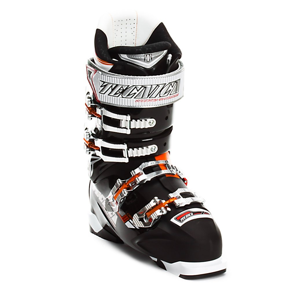 Ski Tecnica Demon 100 Air Shell Ski Boots - Borrowing it's geometry from the Inferno boots the Demon 100 Air Shell widens things up 2mm for a high performing boot with an extra level of comfort. At a 100 flex with it's powerful stance the Demon 100 AS is an ideal boot for solid intermediate and lighter weight advanced skiers. It also gets Air Shell Technology, which allows you to inflate an air bladder system that snugs the boot up as needed down to a 98mm last. Air Shell not only helps to fill any voids around your foot but by adding an extra layer of air also increases foot warmth. Using a rather upright stance and a lower ramp angle the Demon has a relaxed feel to it with very progressive flex profile to work better with modern ski shaping, including rocker. Inside the Demon 100 AS is an UltraFit Liner for superior heel hold with a calculated balance between performance and remaining comfortable skiing all day. On the comfort front the Demon uses Quick Instep, a co-molded area of soft plastic over the instep, and a hinged instep catch to eliminate boot bite for smooth and painless entry and exit. The Demon 100 AS is also outfitted with all the necessary features to quickly tweak things for your foot by getting cuff alignment, four microadjustable buckles, a 45mm powerstrap, flex adjustment, and an adjustable spoiler. With all these fine tuning adjustments the Demon 100 Air Shell guarantees a snug and proper fit from toes to calf. Features: Rear Velcro Spoiler - Adjustable And Removable, 45mm Velcro Powerstrap, Four - $249.95