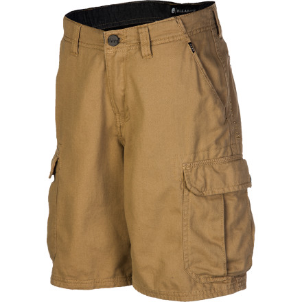 Surf The easy, wash-and-wear Billabong Boys' Transmitter Short loves a change of scenery, which is why it was made with tons of versatility and everyday comfort. With plentiful pockets, this short likes to get out in nature and go for a hike; its longer length and roomy fit make it a cool-kid stylish short for school or hitting the skate park. And with all-cotton breathable comfort, your active little man will feel great no matter where he ventures. - $41.95