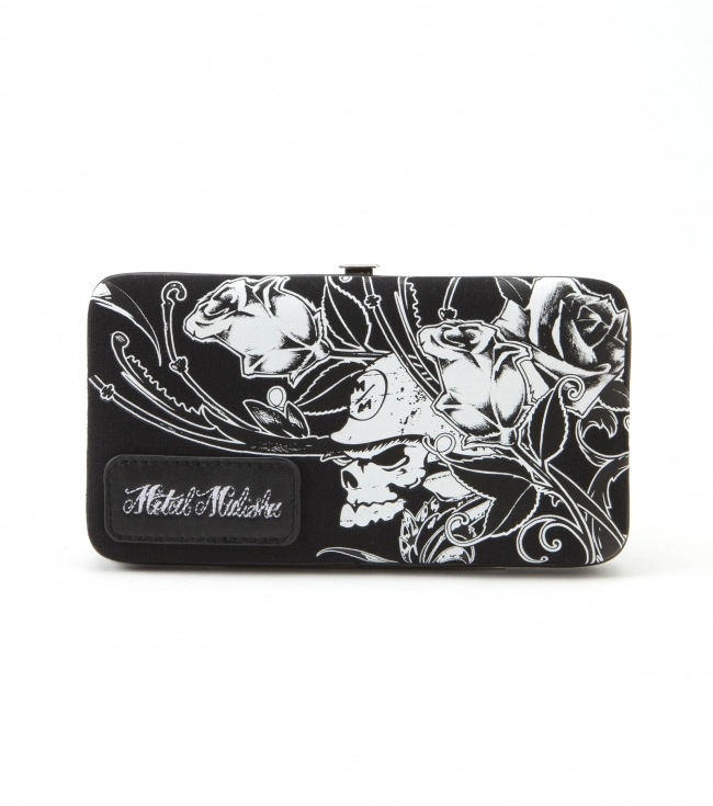 "Motorsports Metal Mulisha Maidens wallet.  Black canvas hard case wallet with logo screenprint; embroidery logo patch; and black polyester lining.7.25""W x 4""T - $17.99"