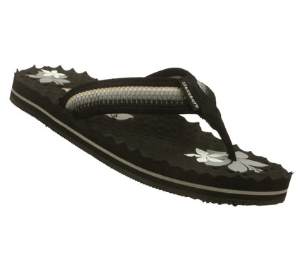 Surf Make your warm weather full of style with the SKECHERS Works - Rocky Point sandal.  Soft suede and fabric upper in a flip flop thong sandal with stitching accents and rainbow woven stripe detail.  Egg crate textured footbed with flower accents. - $26.00