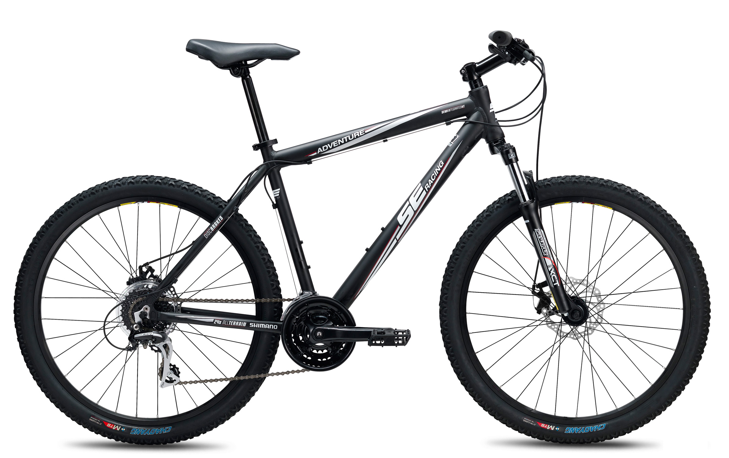 "MTB Key Features of the SE Adventure 24 Speed Bike: Sizes: S (17""), M (19""), L (21""); Step Through: S (15""), M (17"") Color(s): Step Over: 80% Matte Black, 80% Matte Brown; Step Through: Brown, Blue Main frame: SE 1 alloy, w/ semi-integrated headset, water bottle mount Rear triangle: SE 1 alloy, w/ replaceable hanger Fork: Suntour SF13 XCT, w/ steel steerer, coil spring w/ preload adjustment, 80mm travel Crankset: Wheel Top, 42/34/24T, 8-speed Bottom bracket: Cartridge Pedals: 1-piece resin body, w/ steel axle Front derailleur: Shimano Altus, band type 31.8mm Rear derailleur: Shimano Acera, 8-speed Shifters: Shimano EF-40 EZ-Fire, 24-speed Cassette: Shimano Altus, 11-32T, 8-speed Chain: Fixed Star, 8-speed Wheelset: Weinmann ZAC 19 32H double wall rims, alloy Formula hubs, ED Black spokes, brass nipples, steel quick releases Tires: Evolution, 27 tpi, 26"" x 2.1"" Brake set: HL DB-280 mechanical disc, 160mm rotors Brake levers: Shimano EF-40 2-finger Headset: Neco, 1 1/8"" semi-integrated w/ caged bearings Handlebar: Steel, 30mm rise, 6d sweep, 25.4mm clamp Stem: Steel, 25.4mm, +/- 20d Tape/grip: Kraton rubber, closed end Saddle: SE w/ foam padding, steel rails Seat post: Steel, 27.2mm x 300mm Weight: - $399.00"