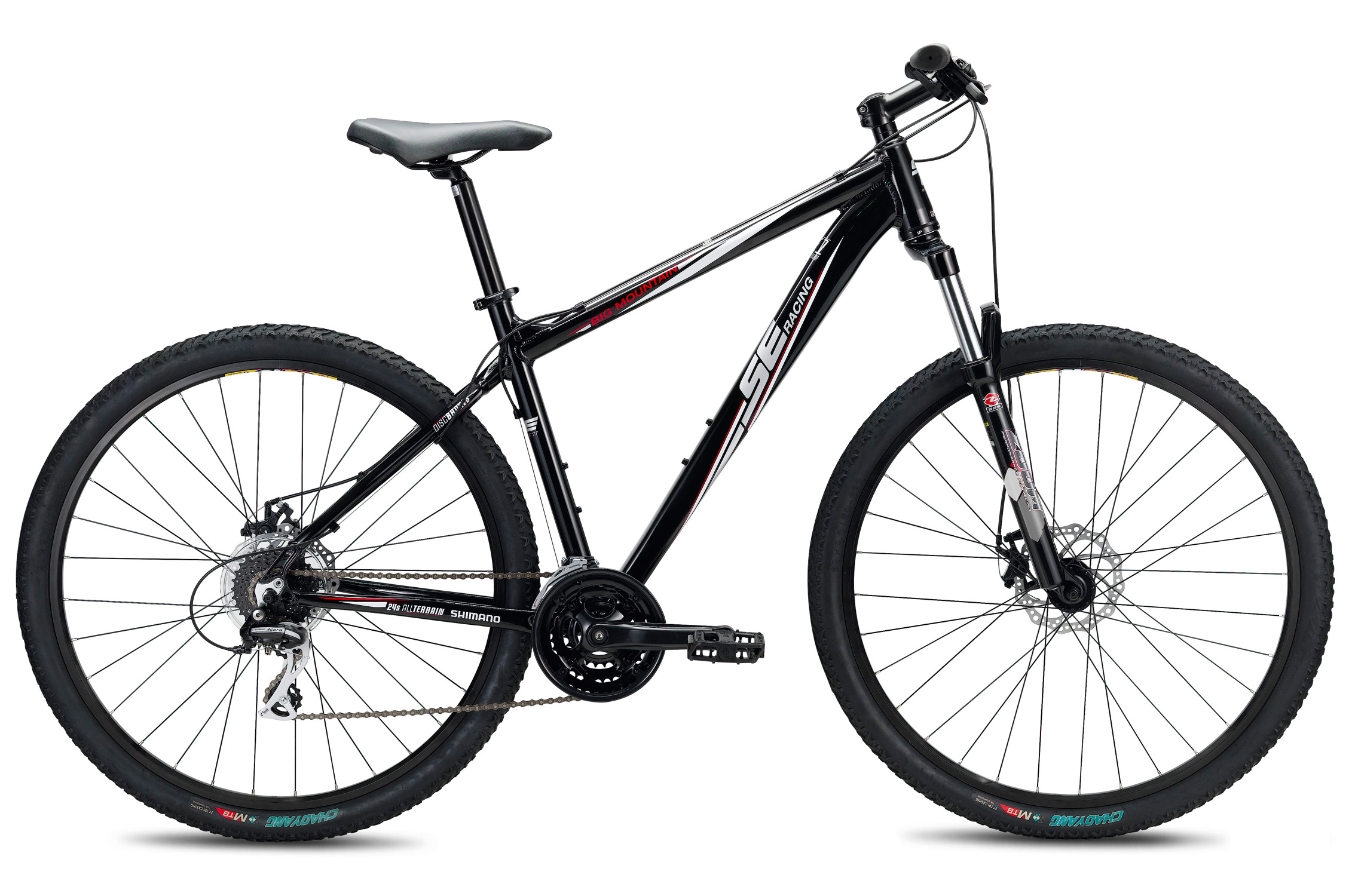 "MTB If you're looking for the benefits of 29-inch wheels but want to leave something in the bank, the Big Mountain 24 is the bike for you. We round out this power value package with 24 speeds from Shimano.Key Features of the SE Big Mountain 24 Speed Bike: Sizes: S (17"" , M (19"" , L (21""  Color(s : Black, Brown Main frame: SE 1 Double Butted alloy, semi-integrated headset, w/ 1.5"" lower bearing, double water bottle mounts Rear triangle: SE 1 alloy, w/ replaceable hanger Fork: HL 595SAMS 29"", w/ 1 1/8""-1 1/2"" steel taper steerer, 100mm travel Crankset: Wheel Top, 42/34/24T, 8-speed Bottom bracket: Cartridge Pedals: 1-piece resin body, boron axle Front derailleur: Shimano Altus, band type 34.9mm Rear derailleur: Shimano Acera, 8-speed Shifters: Shimano EF-40 EZ-Fire, 24-speed Cassette: Shimano Altus, 11-30T, 8-speed Chain: Fixed Star, 8-speed Wheelset: Weinmann ZAC 19 32H double wall rims, alloy Formula hubs, ED spokes, brass nipples, steel quick releases Tires: Evolution, 27 tpi, 29"" x 2.0"" Brake set: HL DB-280 mechanical disc, 160mm rotors Brake levers: Shimano EF-40 2-finger Headset: VP, 1 1/8""- 1 1/2"" w/ caged bearings Handlebar: Steel, 30mm rise, 6d sweep, 25.4mm clamp Stem: Steel, 25.4mm,  /- 20d Tape/grip: Kraton rubber, closed end Saddle: SE w/ foam padding, steel rails Seat post: Alloy, 31.6mm x 300mm - $359.95"