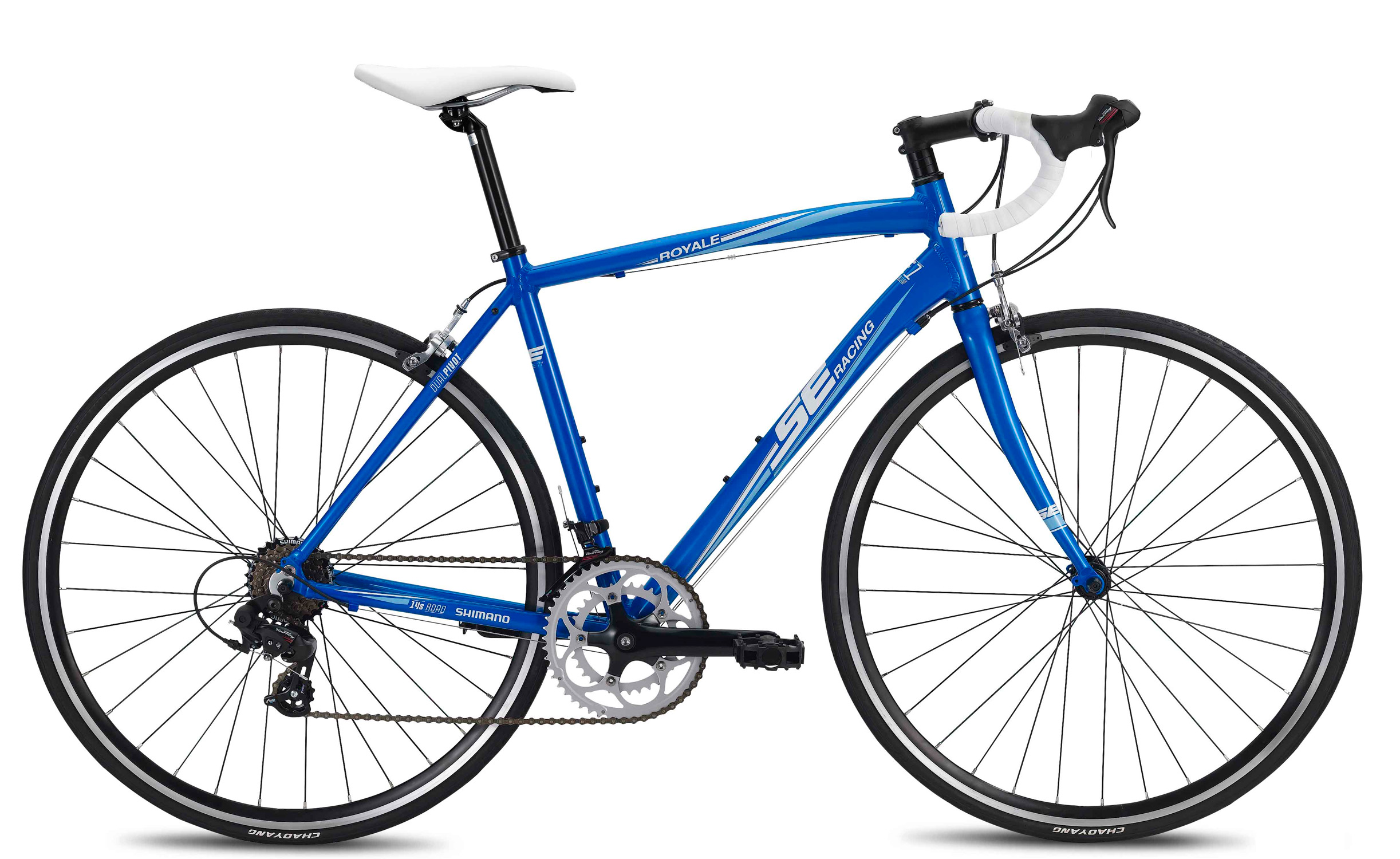 "MTB Introduce yourself to the world of road bikes through the lightweight aluminum chassis of the Royale 14. An alloy road fork, coupled with Shimano shifting will allow you to find a gear for every occasion - whether on a solo fitness ride or competing in a local race.Key Features of the SE Royale 13 Speed Bike: Sizes: XS (42cm), S/ M (46cm), M (50cm), M/ L (54cm), L/ XL (58cm) Color(s): 80% Matte Black, Blue Main frame: SE 1 alloy, with water bottle mounts Rear triangle: SE 1 alloy, with replaceable hanger Fork: Alloy legs, with 1 1/8"" alloy steerer Crankset: Lasco, 50/ 34T, 7-speed Bottom bracket: Cartridge Pedals: 1-piece resin body, boron axle Front derailleur: Shimano A070, band type 31.8mm Rear derailleur: Shimano A070, 7-speed Shifters: Shimano A070, 14-speed Cassette: Shimano HG-20, 12-28T, 7-speed Chain: Fixed Star, 7-speed Wheelset: Alloy 32H double wall rims, alloy Formula hubs, ED spokes, brass nipples, steel quick releases Tires: road 30 tpi, 700 x 25c Brake set: Alloy road caliper Brake levers: Shimano A070 Headset: Neco, 1 1/8"" with caged bearings Handlebar: Alloy drop bar, 31.8mm clamp Stem: Alloy, 31.8mm, +/- 7d Tape/ grip: Suede tape Saddle: SE with foam padding, steel rails Seat post: Alloy, 27.2mm x 300mm - $369.95"