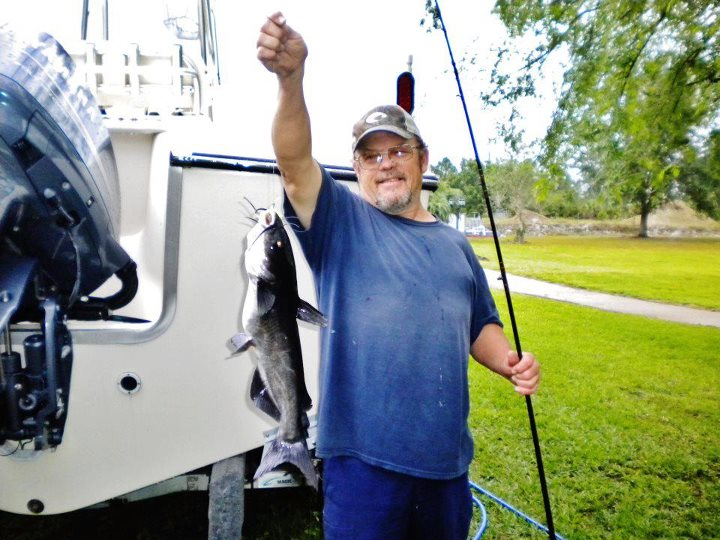 Fishing Bryan Ackland caught this catfish on a live shrimp