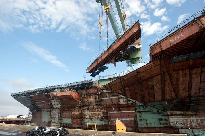 Guns and Military The Navy's next-generation aircraft carrier is now 100 percent structurally complete. Watch as the last of 162 superlifts for Gerald R. Ford (CVN 78) brings more than three years of structural erection work to a close: http://ow.ly/kRe2p