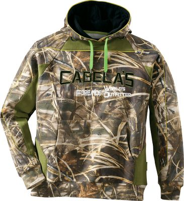 Hunting Display your passion for waterfowl hunting with the warm and stylish Cabelas MensMidweight Waterfowler Hoodie. Three-piece hood and accent piping add a trendy edge. For the field, D-ring attachment points on the shoulders make for handy storage of calls or other gear. Front kangaroo pocket keeps your hands warm and sports a media pocket that fits most media devices. Made of fleeced, 420-gram, 60/40 cotton/polyester. Imported. Sizes: M-3XL. Camo patterns: Realtree MAX-4, Mossy Oak Shadow Grass Blades. Size: L. Color: Max 4. Gender: Male. Age Group: Adult. Material: Polyester. Type: Hoodies. - $44.88