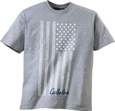 Show your pride in America with the Cabelas Vertical Flag Short-Sleeve Tee Shirt. Features a vertical, faded depiction of Old Glory screen-printed on a 100% cotton shirt for style and comfort. Preshrunk for a reliable fit. Taped neck and double-needle stitching on the sleeves and bottom hem for durability. Made in USA. Sizes: M-2XL.Colors: Deep Royal, Grey, Red. - $19.99