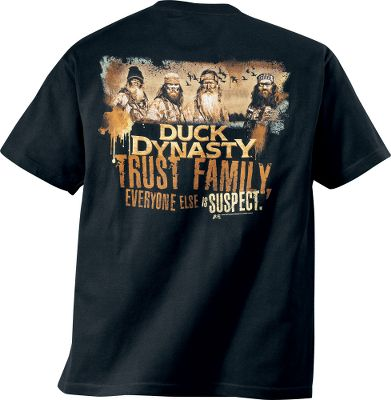 Hunting Show your love of the bayou-based, Southern-rooted Duck Dynasty with a shirt boasting the shows most popular phrases. Made of breathable 100% cotton. Imported. Sizes: XL-3XL.Available: RV, Trust Family, Watching You. - $24.99
