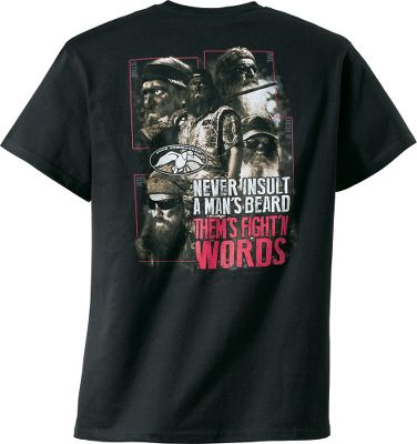 Hunting Any Duck Commander worth his whiskers knows you never insult another mans beard. The Duck Commander Fightn Words Short-Sleeve Tee Shirt is made of 100% cotton. Imported. Sizes:S-3XL. Color: Black. Size: Large. Color: Black. Gender: Male. Age Group: Adult. Material: Cotton. - $9.99