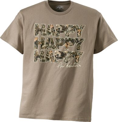 Hunting Take some advice from Phil Robertson and be happy, happy, happy! The Duck Commander Mens Happy Happy Happy Short-Sleeve Tee Shirt is made of 100% cotton. Imported. Sizes:S-3XL. Color: Sand. Size: Medium. Color: Sand. Gender: Male. Age Group: Adult. Material: Cotton. Type: Short-Sleeve Tee Shirts. - $19.99