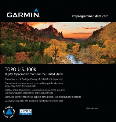 Update your Garmin TOPO U.S. 100K for the entire United States including Alaska, Hawaii and Puerto Rico with this preprogrammed microSD card. Some features include Navteq road content, improved coverage of parks, forests and other recreational areas, updated KOA campgrounds, boat ramps, lakes, trails, backcountry roads and Garmin dealer locations. - $99.99