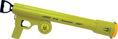 Entertainment Effortlessly launch tennis balls for your pet with the K-9 Kannon from Hyper Pet. Simply pull back on the loading handle, place the ball in the muzzle and fire. Once your pet retrieves the ball and drops it at your feet, you can reload the ball hands-free by pushing the muzzle down on the ball. Forward of the trigger guard is a convenient holder that secures an extra tennis ball. - $18.74