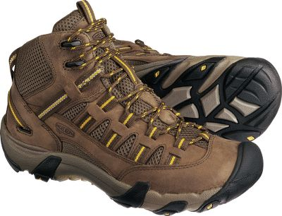 Camp and Hike On and off the trail, the sturdy and lightweight Keen Mid Alamosa Hikers deliver vented comfort and rugged protection. Durable nubuck and breathable mesh uppers promote air circulation around your feet, keeping them cool and comfortable. Drop-in heel inserts work with removable metatomical EVA footbeds that hug the natural contours of your feet for enhanced arch support. Torsional-stability shanks minimize foot fatigue. S3 heel-support structures dissipate shock and help prevent ankle injuries. Keens patented toe protection wraps up and over the toe beds for complete protection from trail hazards. Nonmarking rubber outsoles sport 4mm multidirectional lugs to give you sure-footed traction on a variety of terrains. Imported.Average weight: 2.2 lbs./pair.Mens sizes: 7-14 medium width. Half sizes to 12.Color: Shitake. - $39.99
