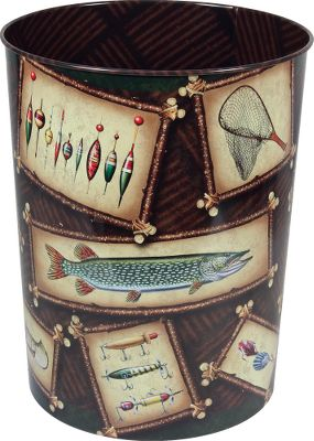 Entertainment Liven up your home with the Rivers Edge Tin Wastebasket. Beautiful designs are printed on the outside and inside. Height: 10.5. Available: Fishing, Hunting. Type: Wastebaskets. - $9.99