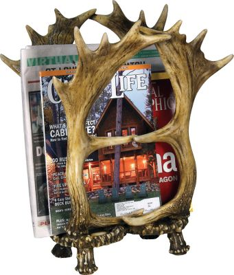 Entertainment Make your bathroom feel like hunting camp with the Rivers Edge Antler Magazine Rack. The poly-resin antlers keep reading material close by while complementing your outdoor-themed dcor.Dimensions: 12L x 17H. Type: Magazine Racks. - $59.88