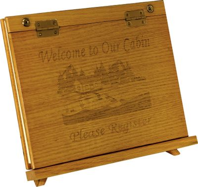 Preserve the memories from your cabin with the Rivers Edge Sign-In Book. Timeless wood design is laser-etched with a warm, welcoming message. Includes 50 pre-printed pages with areas for names, dates and comments. Comes with wooden display easel.Available: Welcome To The Cabin, Thanks For Staying With Us. - $29.88