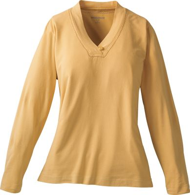 Its wrapped v-neckband and Reflex Stretch fabric make it a standout piece. Made of a 95/5 cotton/spandex peached jersey for velvety softness and shape-holding durability. Pebble-washed for broken-in comfort. Single-button, self-fabric loop closure at neck. Imported. Center back length: 25. Sizes: S-2XL. Colors: Soft Ruby, Cornhusk. - $9.88