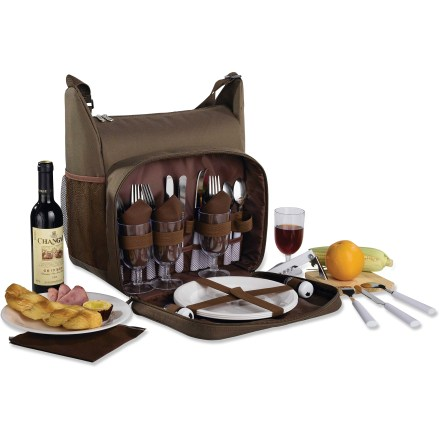Camp and Hike There's something special about enjoying a picnic outdoors. Whether it's a romantic outing, a family getaway, or a beach or tailgate party, the Outbound Havana Picnic Tote for 4 suits the occasion. Includes 4 each: shatterproof wine glasses and 9 in. plates, stainless steel knives, forks and spoons and reusable cotton napkins; front pocket securely organizes the items. Insulated main compartment helps keep food chilled and protected. Outbound Havana Picnic Tote also includes a bottle opener, salt and pepper shakers, a cheese knife and wooden cutting board. Adjustable shoulder strap; 2-way main pocket zipper; exterior mesh pocket;. Made from rugged polyester fabric. Special Buy. - $24.73