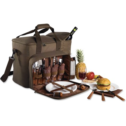 "Camp and Hike With its large capacity, plus utensils and plates for 6, the Outbound Varadero Picnic Set has a ""more the merrier"" attitude built right in. Includes 6 each: shatterproof wine glasses and 9 in. plates, stainless steel knives, forks and spoons and reusable cotton napkins; front pocket securely organizes the items. Large-capacity insulated main storage area. Outbound Varadero Picnic Set also includes a bottle opener, salt and pepper shakers, a cheese knife and wooden cutting board. Adjustable shoulder strap plus webbing carry handles; 2-way main pocket zipper; exterior mesh pocket. Made from rugged polyester fabric. Special Buy. - $59.73"