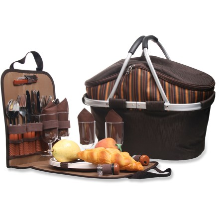 Camp and Hike The Outbound Shangri-La Picnic Hamper holds everything you'll need to host an elegant picnic for 4 in a sturdy aluminum-frame design. Removable sleeve carries and organizes 4 each: shatterproof wine glasses and 9 in. plates, stainless steel knives, forks and spoons and reusable cotton napkins. Insulated main compartment helps keep food chilled and protected. Outbound Shangri-La Picnic Hamper also includes a bottle opener and salt and pepper shakers. 2-way main pocket zipper; rubber-padded aluminum carry handles. Made from rugged polyester fabric. Special Buy. - $43.73