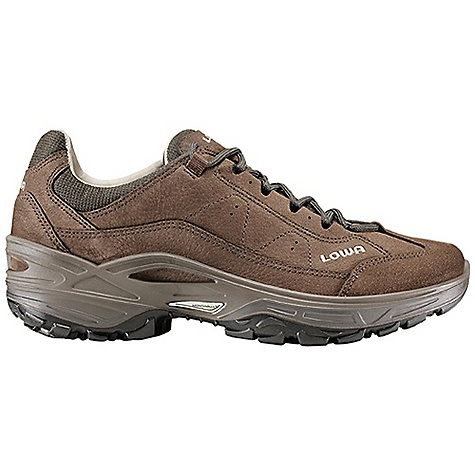 Camp and Hike Free Shipping. Lowa Men's Strato III Lo Shoe DECENT FEATURES of the Lowa Men's Strato III Lo Shoe All day comfort makes this shoe ideal for day hikes or touring Low profile upper made with embossed leather looks good day after day Leather lining provides great fit and moisture wicking The SPECS Weight: 860 gram Upper: Embossed Leather Lining: Glove Leather Footbed: Climate Control Midsole: PU Monowrap Frame Outsole: Lowa Enduro Stabilizer: 3/4 length, Medium - $189.95