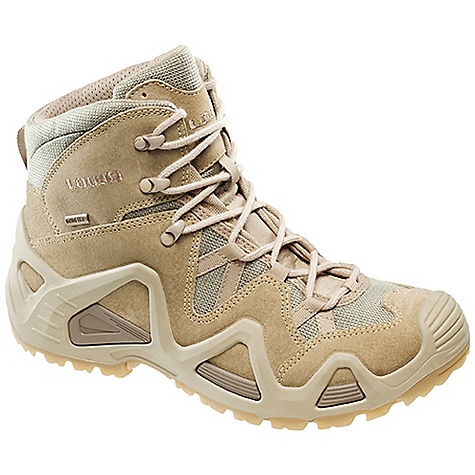 Camp and Hike Free Shipping. Lowa Men's Zephyr Desert Mid TF Boot DECENT FEATURES of the Lowa Men's Zephyr Desert Mid TF Boot Originally designed as a summer hiking boot for desert climates, as the world has changed this model has become a go-to boot for those who serve in warm climates PU Monowrap frame with comfortable underfoot PU midsole The SPECS Weight: 1090 gram Upper: Split leather/Cordura Lining: Quick drying fabric Footbed: Climate Control Midsole: PU with Monow rap construction for stability Outsole: Cross Stabilizer: 3/4 length - $179.95