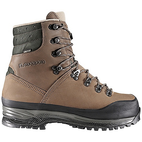 Free Shipping. Lowa Men's Bighorn GTX G3 Boot DECENT FEATURES of the Lowa Men's Bighorn GTX G3 Boot The ultimate cold weather, big game hunting boot Gore-Tex lined for protection in all weather, insulated with 200 gram PrimaLoft for foul days in the mountains Weight is reduced with a mountaineering rand G3 sole unit offers superb slip resistance on wet rock, snow and ice Embedded loops of texturized fabric placed within the rubber lugs enhance grip on icy terrain Soft high-tech rubber blend provides tenacious grip on dry ground Rugged top quality rubber blend for outstanding stability and durability The large lug pattern sole units follow the natural line of foot motion with a minimum of one lug in contact with the ground at all times during the roll-off motion - thus improving stability on snow and ice The SPECS Weight: 1960 gram Upper: Nubuck Lining: Gore-Tex/PrimaLoft 200g insulation Climate Control: Yes Tongue Stud/X-Lacing: Yes C4 Tongue: Yes Footbed: Balance Comfort Midsole: PU with SPS Cushion Outsole: G3 Stabilizer: 5mm Nylon - $449.95