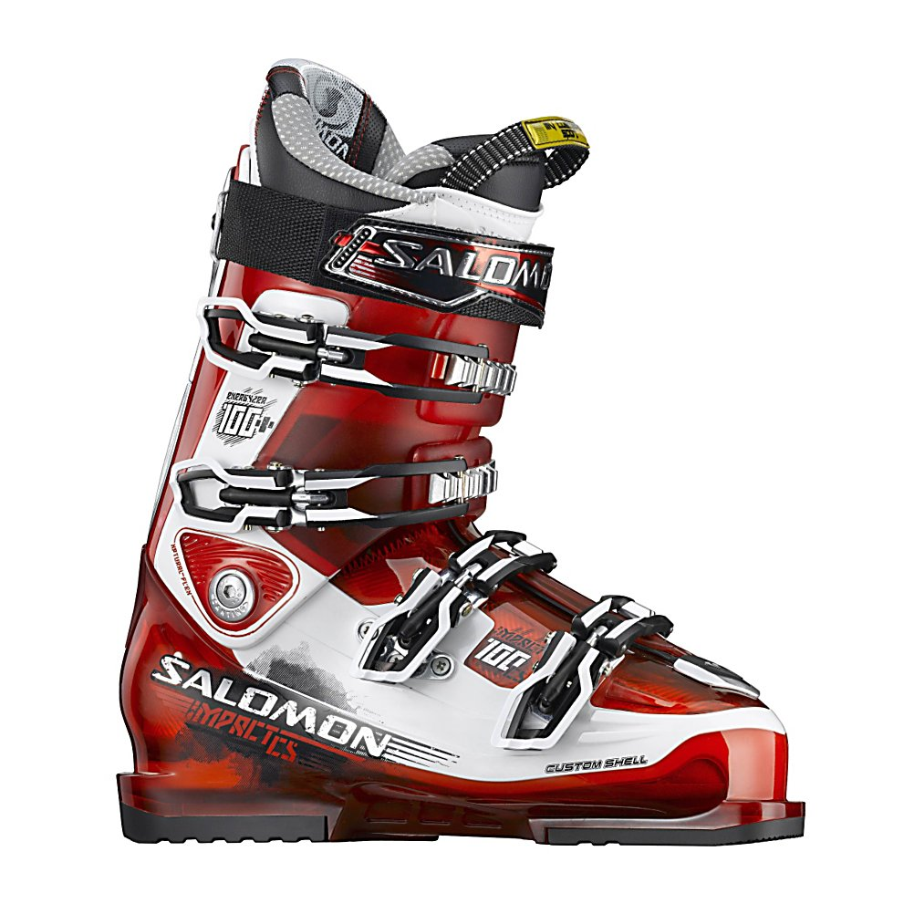 Ski Salomon Impact 100 CS Ski Boots - The Salomon Impact 100 CS Ski Boots are all-mountain and high-performance boots for the skier that wants to go just about anywhere and knows how to navigate the terrain. These boots offer a Customized Shell so that you remain as comfortable as can be with the foothold necessary to really lay into those turns. This technique will improve your performance so that you always ski at your very best. The Backbone Magnesium Technology will ensure excellent power transfer and a progressive forward flex management so that you can power through the mountain with lots of support and stability. The My Custom Fit Liner will keep your feet feeling comfortable all throughout the day. If you want the kind of performance that World Cup athletes expect then the Salomon Impact 100 CS Ski Boots are the ones to exceed your expectations. . Actual Flex: 100, Cuff Alignment: Single, Warranty: One Year, Special Features: Backbone Magnesium Technology, Ski Boot Width: Medium (100-103mm), Special Features: 35mm Power Strap, Flex: Stiff, Used: No, Ski/Walk: No, Prewired For Heat: No, Number of Micro Buckles: 4, Forefoot Width: 100mm at Reference Size 26.5, Flex Adjustment: No, Buckle Count: 4, Buckle Material: Titanium, Category: Downhill, Ski Gear Intended Use: All Mountain, Instep Height: Medium, Calf Volume: Medium, GTIN: 0080694298990, Model Number: 126915 255, Model Year: 2012, Skill Range: Advanced - Expert, Product ID: 235205 - $249.93