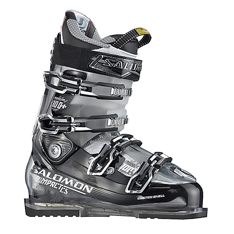 Ski Salomon Impact 100 CS Ski Boots - The Salomon Impact 100 CS Ski Boots are all-mountain and high-performance boots for the skier that wants to go just about anywhere and knows how to navigate the terrain. These boots offer a Customized Shell so that you remain as comfortable as can be with the foothold necessary to really lay into those turns. This technique will improve your performance so that you always ski at your very best. The Backbone Magnesium Technology will ensure excellent power transfer and a progressive forward flex management so that you can power through the mountain with lots of support and stability. The My Custom Fit Liner will keep your feet feeling and comfortable all throughout the day. If you want the kind of performance that World Cup athletes expect then the Salomon Impact 100 CS Ski Boots are the ones to exceed your expectations. . Cuff Alignment: Single, Ski Boot Width: Medium (100-103mm), Ski/Walk: No, Prewired For Heat: No, Number of Micro Buckles: 4, Forefoot Width: 100mm at Reference Size 26.5, Buckle Count: 4, Buckle Material: Aluminum, Category: Downhill, Ski Gear Intended Use: All Mountain, GTIN: 0080694353521, Model Number: 126917 250, Product ID: 314170, Model Year: 2013, Skill Range: Advanced - Expert, Calf Volume: Medium, Instep Height: Medium, Flex Adjustment: No, Used: No, Flex: Stiff, Special Features: 35mm Power Strap, Special Features: Backbone Magnesium Technology, Warranty: One Year, Actual Flex: 100 - $249.93
