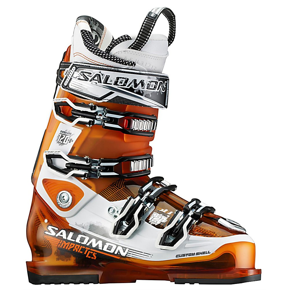 Ski Salomon Impact 120 CS Ski Boots - The Salomon Impact 120 CS Ski Boots are all-mountain, high-performance and very stiff boots for the skier that wants to go just about anywhere and knows how to navigate the terrain. These boots offer a Customized Shell so that you remain as comfortable as can be with the foothold necessary to really lay into those turns. This technique will improve your performance so that you always ski at your very best. A 45mm Power Strap will help keep your foot locked into the heel of the boot. The Backbone Magnesium Technology will ensure excellent power transfer and a progressive forward flex management so that you can power through the mountain with lots of support and stability. The My Custom Fit Pro Liner will keep your feet feeling and comfortable all throughout the day. If you want the kind of performance that World Cup athletes expect then the Salomon Impact 120 CS Ski Boots are the ones to exceed your expectations. . GTIN: 0080694171323, Model Number: 325876 240, Product ID: 314177, Model Year: 2013, Skill Range: Advanced - Pro, Ski Gear Intended Use: All Mountain, Category: Downhill, Buckle Material: Aluminum, Buckle Count: 4, Flex Adjustment: No, Forefoot Width: 100mm, Number of Micro Buckles: 4, Prewired For Heat: No, Ski/Walk: No, Used: No, Flex: Very Stiff, Bearing Grade: Performance, Special Features: My Custom Fit Pro, Ski Boot Width: Medium (100-103mm), Special Features: Backbone Magnesium Technology, Warranty: One Year, Cuff Alignment: Dual, Actual Flex: 120 - $299.93