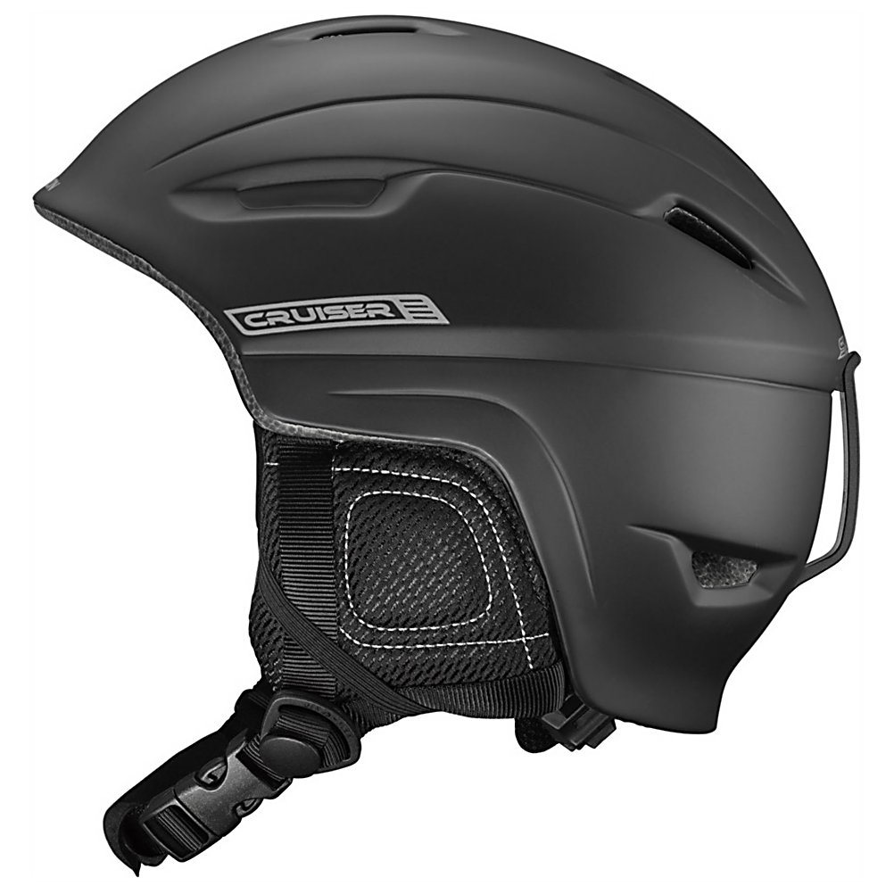 Ski Salomon Cruiser Helmet - The lightweight Salomon Cruiser Ski Helmet has a sleek style and offers you the kind of protection you need when heading to the mountain. You want to keep your skull and brain protected in case you take a hard tumble out there and this Cruiser Helmet is a comfortable way to do so. The Airflow Concept is a great feature which provides you with channels on the helmet for even air movement so that you're aren't getting all sweaty and hot underneath. Removable Ear Pads allow you to go with ear pads for added protection against the cold winds of winter but if you're carving on a warm spring day, remove those ear pads and stay comfortable. You can also remove the liner and toss it in the washing machine and make sure its clean for your next slope session. So, what about this helmet keeps you protected? Designed with an In-Mold Shell and EPS Liner, this will take the brunt of a hit providing shock resistance so that you have a greater chance of getting away from a nasty situation without any damage. Comfortable, warm and providing great protection, the Salomon Cruiser Ski Helmet will be your stylish way to stay safe this winter. . Certifications: CE-EN1077 / ASTM F-2040, Warranty: Two Years, Special Features: Chimstrap Dressing, Race: No, Category: Half Shell, Audio: Not Compatible, Brim/Visor: No, Ventilation: Fixed, Custom Fit Adjustment: No, Year Round Capable: No, Shell Construction: In Mold, Model Year: 2013, Product ID: 314409 - $69.95