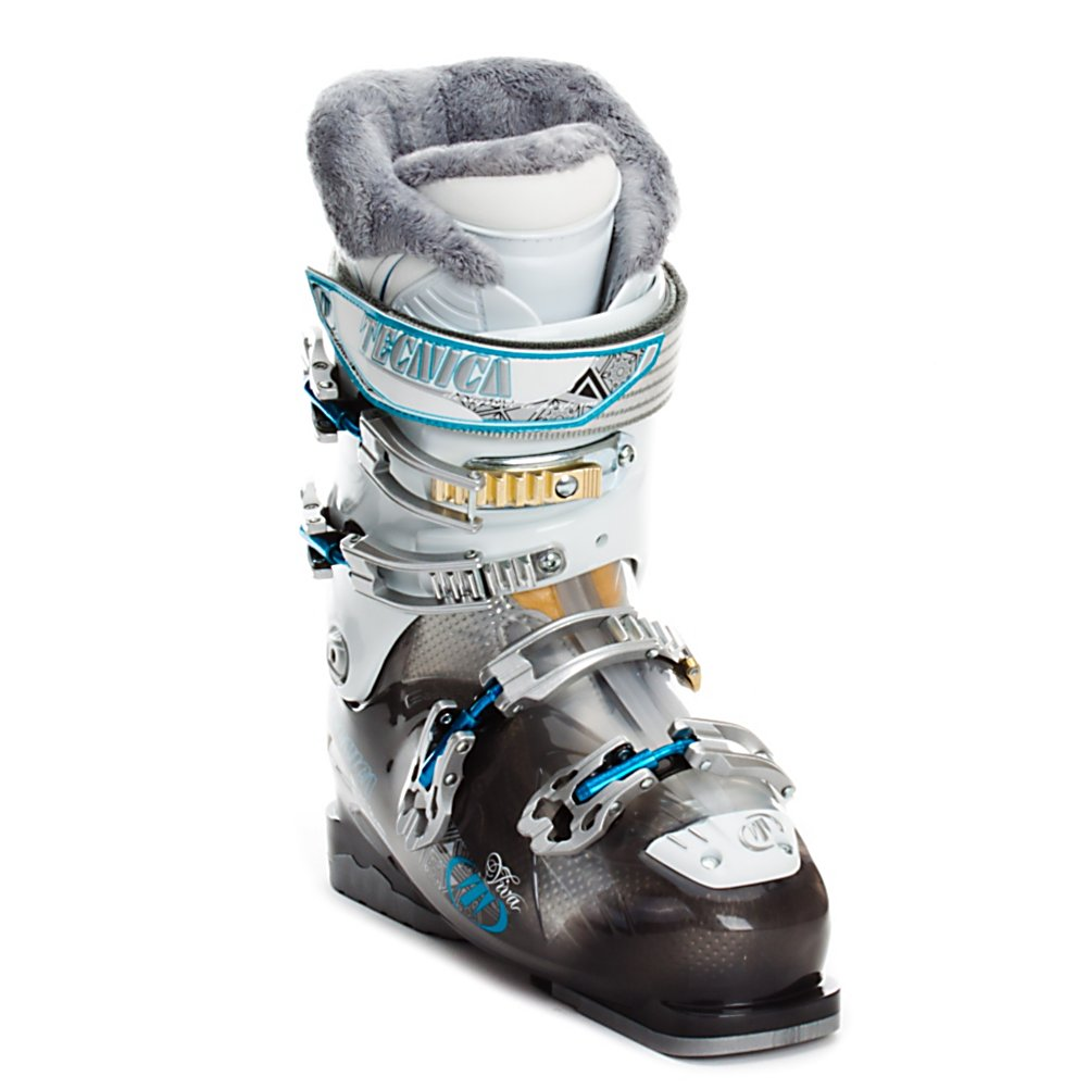 Ski Tecnica Viva M10 Womens Ski Boots - The Viva M10 is a perfect boot for athletic beginners to casual intermediate skiers who want some performance from their boots but are focused on comfort. With a 105mm forefoot and an 80 flex shell and cuff the Viva M10 is more than roomy but has enough support to comfortably cruise groomed blues. On the comfort side of things the Viva M10 uses the Progressive Cushion System, a combination of a slow memory Ethafoam in the liner and a tri-layer footbed create a plush and cushioned environment that absorbs vibrations. The Viva UltraFit liner also gets Viva Velvet Fur Lining and a flared and scalloped calf shape that adjust to your leg shape to promote good blood flow for more comfortable and warmer feet. To keep the Viva M10 fitting well four microadjustable buckles, cuff alignment, and a powerstrap finish things off so you can adjust the fit and stance as needed to get the best performance you can. If you are a casual skier and cruising mellow groomed slopes is your favorite do it in style and extreme comfort with the Viva M10. Features: PCS Footbed - A Tri-layer Footbed For Cushioning And Vibration Absorption, Adjustable Power Spoiler, Four Microadjustable Mega Aluminum Buckles, Easy Move Catch - Three Position Upper Catch With Toolless Adjustment, Triple Position Lower Cuff Catch, Hinged Instep Catch, Viva Flared Scalloped Calf - Accommodates Various Calf Shapes Without Needing To Adjust Anything, Viva Calf Adapter - V-Channels On The Liner That Adapt To Different Lower Leg - $199.90