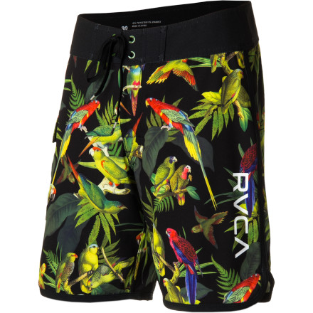 Surf The RVCA Squawker Board Short offers a fowl-filled take on classic floral-print style. Four-way stretch fabric and a 19-inch inseam hook up surf-friendly mobility and a slim, sleek look. - $59.95
