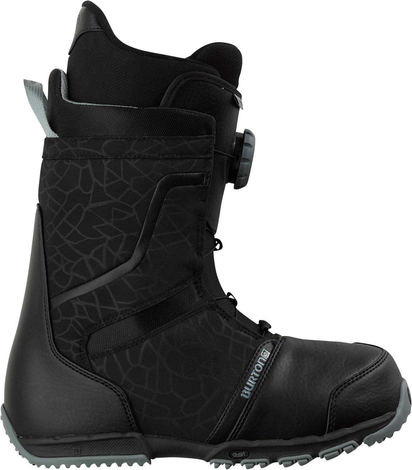 Snowboard The quickest dial up connection.Key Features of the Burton Tyro Snowboard Boots: Support: 4 Shrinkage Footprint Reduction Technology Lacing: NEW Speed Dial Lacing System Liner: Imprint 1 Liner with Integrated Lacing Cushioning: Lightweight, Low-Profile EST Optimized Midsole with B3 Gel Flex and Response: Power Spine Backstay and Medium Flex Thin Profile 3D Molded Tongue Comfort: Total Comfort Construction, Snow-Proof Internal Gusset, and Level 1 Molded EVA Footbed - $139.95