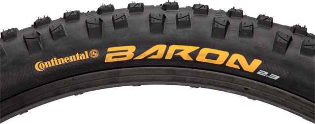 "Fitness Key Features of the Continental Baron Bike Tire Black Steel Bead 26 x 2.3in: Aggressive tire that is light enough to pedal back to the top of the run Intended Use: Mountain Defined Color: Black Color Tread/Side: Black Tire Type: Clincher Tire Diameter: 26"" Labeled Width: 2.3 ISO Width: 57 mm ISO Diameter: 559 / 26"" mtn Tire Bead: Steel PSI: 45 - 58 PSI Weight: 980.0 g Wght/Dims: 2.405 lbs. 26 x 26 x 1.5 - $34.95"