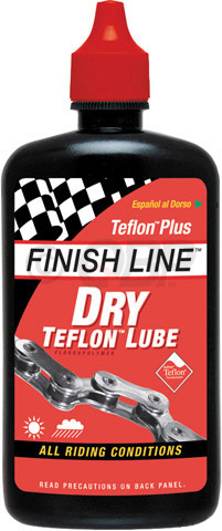 MTB Finish Line Dry Lube goes on wet, but then sets up in a dry, paste-like film so it will not attract or absorb grit and grime. Perfect for on or off-road riding - especially in dry, dirty, dusty conditions, while still providing adequate wet weather performance.Key Features of the Finish Line Dry Lube 4oz: Pack of 12 4oz. bottles Dry Lube Teflon-Plus dry lube has synthetic oils to set up dry and clean while keeping Teflon particles in suspension Teflon based lube goes on milky wet and dries to a strong friction fighting film Attracts less grime, runs clean and offers rust protection Recommended for on or off-road riding, expecially in dry dirt and dusty conditions Can also be used on derailleurs and pivots of brakes and shifters Ounces: 12 fl oz Wght/Dims: 3.425 lbs. 6.25 x 5.25 x 8.75 - $7.95