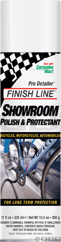 MTB Finish Line Bike Polish made with Teflon fluoropolymer and uses DuPont Teflon Surface Protector technology. Provides a brilliant shine plus long term protection on all surfaces of a bicycle including steel, aluminum, carbon fiber, titanium, chrome and clear coat.Key Features of the Finish Line Showroom Polish 11oz: Contains no abrasives Safe for all painted, carbon fiber and smooth finish metal surfaces; Not recommended for matte finish aluminum anodized surfaces Helps prevent rust and minimize UV damage Ounces: 11 fl oz Wght/Dims: 5.535 lbs. 5 x 7.5 x 10 - $7.95