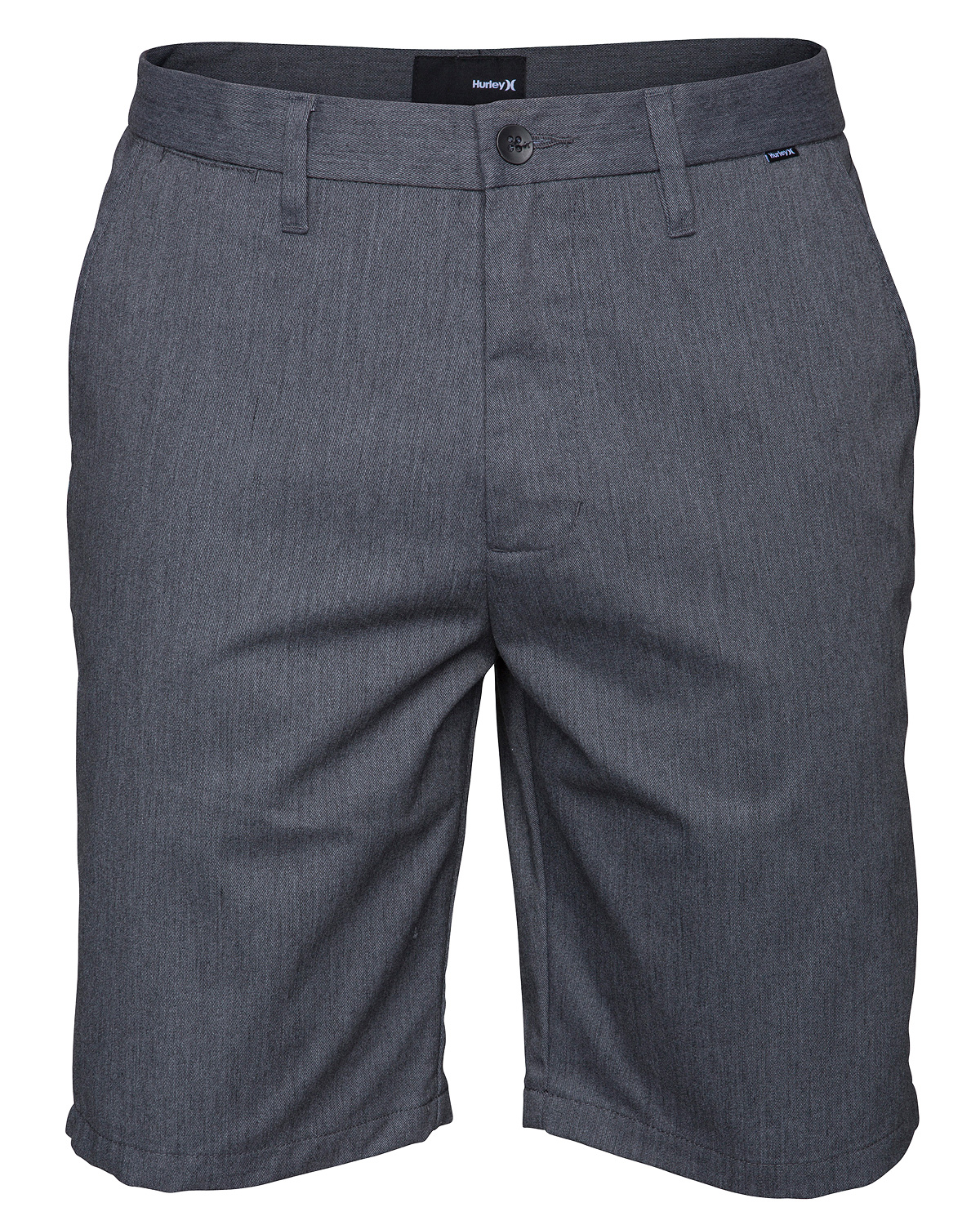"Surf Key Features of the Hurley One & Only Shorts: 21 1/2"" trouser fit 60% cotton/40% polyester twill Double welt back pockets with single engineered pocket flap Coin pocket Metal button closure at waistband and back pockets Signature colorbar button at back pocket - $28.95"