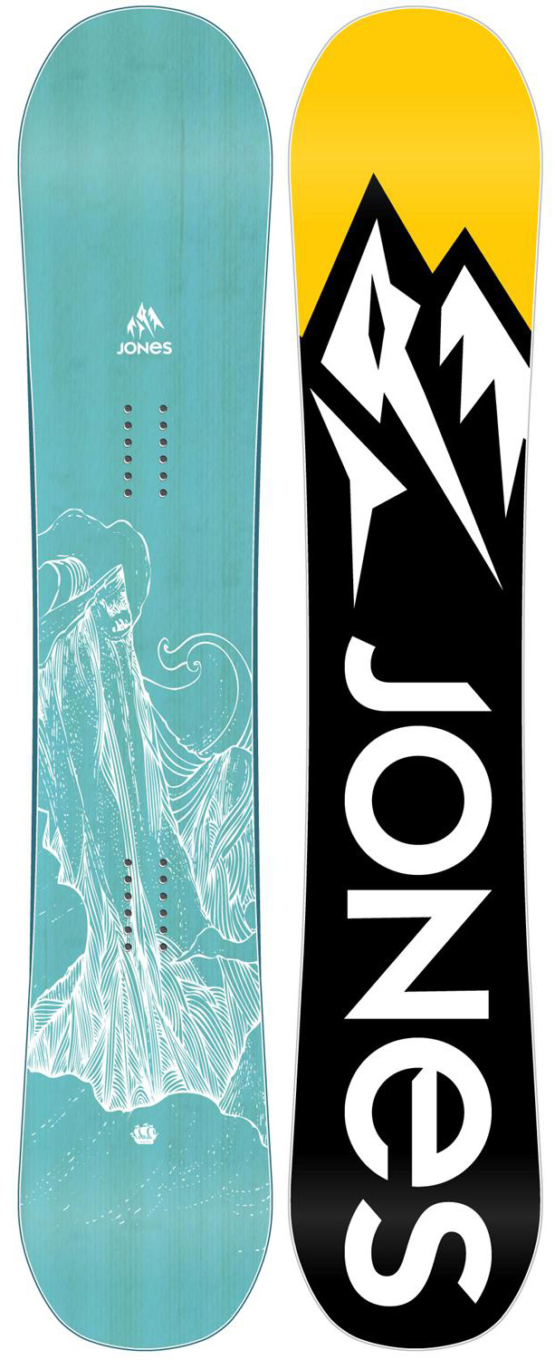 Snowboard The Mothership is an ash-wood topped beauty built for women who fiend for steep terrain and fast lines. Mellow Magne-traction keeps the Mothership solid on ice, while the blunt nose, directional rocker and camber underfoot deliver the float and stability necessary to bomb rowdy terrain. Big mountain lady rippers who like to ride fast and take chances will want the Mothership.Key Features of the Jones Mothership Snowboard: Magnetraction 3x Directional Rocker Directional Freeride 6x2 inserts - $369.95