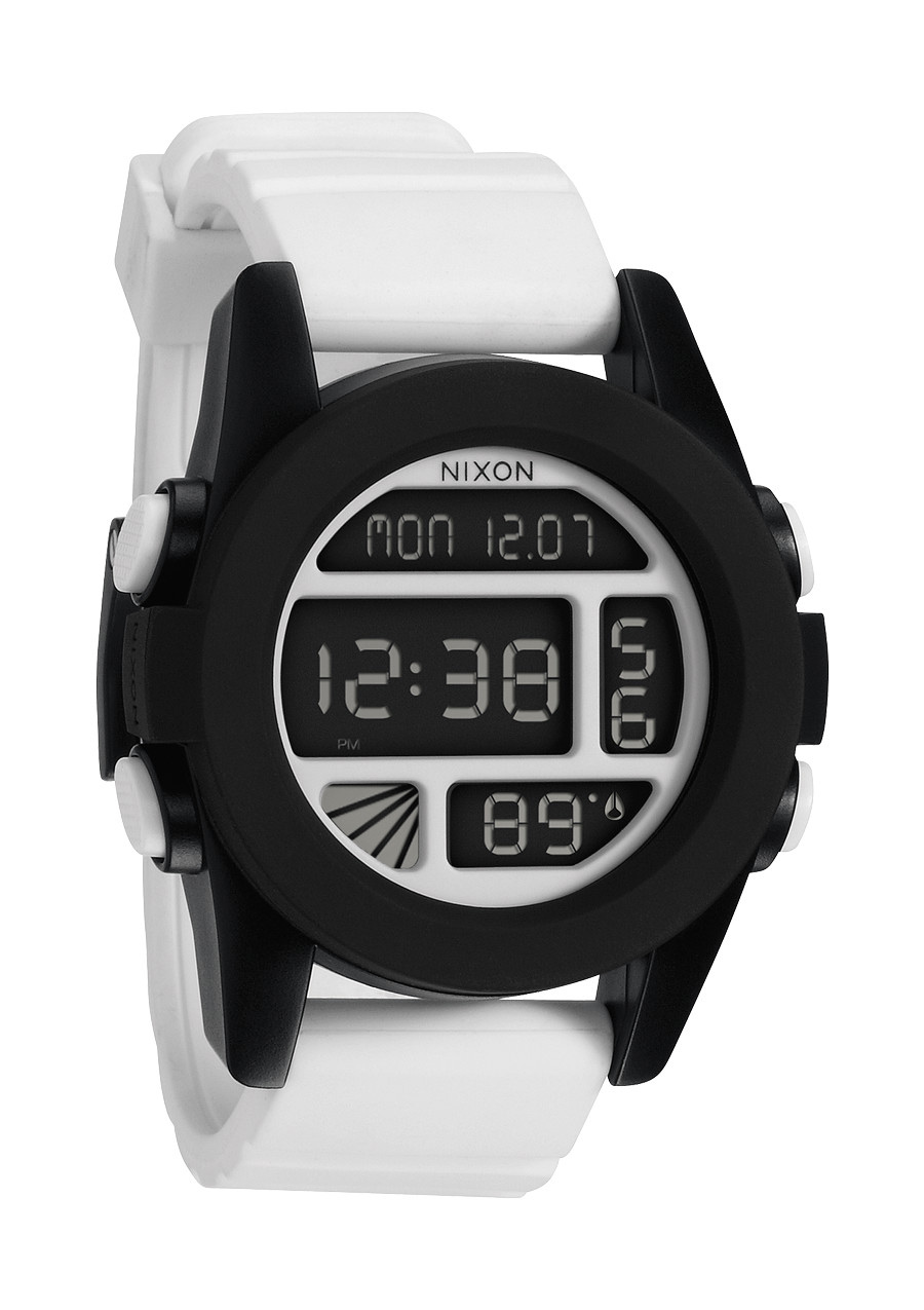 When you hit the park, you''ll need a watch that''s got the same flash and style that you do - and the tricks to back it up. The Unit comes in a range of fresh custom polycarbonate color ways and a custom digital interface with dual time, timer, chrono, alarm and light. It''s also got a temperature gauge, so no matter how thick the powder, you''ll always know who''s hot.Key Features of the Nixon Unit Watch:  MOVEMENT: Custom digital with temperature gauge, dual time, count down timer, chrono, alarm, and light.   CASE: Custom 100 meter polycarbonate with hardened mineral crystal and removable polycarbonate bezel. 49mm diameter.   BAND: Custom double injected silicone with patented locking looper and polycarbonate buckle. 24mm wide. - $81.95