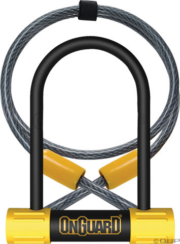 "MTB The On Guard BullDog U-Locks are constructed of 13mm hardened ultra steel shackle with a reinforced sleeve over crossbar and cylinder for added security.Key Features of the Onguard Buldog Mini Dt U-Lock With Cable 3.5 x 5.5in:  4.6 Tons pull strength with anti-drill and pick resistance  Hardened ultra steel shackle with reinforced sleeve over crossbar and cylinder for added security  Bulldog includes free 1-year, anti-theft guarantee  Lock Size: 3.5 x 5.5""   Bracket Incuded:   Wght/Dims: 2.81 lbs. 10 x 8 x 3 - $39.95"