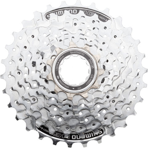 "MTB The right parts will make your next bike ride a comfortable and fun experience. By keeping your bike in working order and using high quality parts, you ensure that you spend more time riding, and less time on the side of the road trying to fix your bike. This Shimano Alivo HG51 8 Speed Bike Cassette is made from high quality aluminum and is perfect for anyone looking for a better, easier ride. Key Features of the Shimano Alivo HG51 8 Speed Bike Cassette 11-28T: Number of Speeds: 8 Range: 11-28 Cassette Cogs: 11,13,15,17,19,21,24,28 Cassette Spacing: Shimano/SRAM 8 Cassette Body Type: Shimano 8 Chain Compatibility: 3/32"" Intended Use: Mountain Weight: Color: Silver Wght/Dims: .9 lbs. 6 x 6 x 2.5 - $26.95"