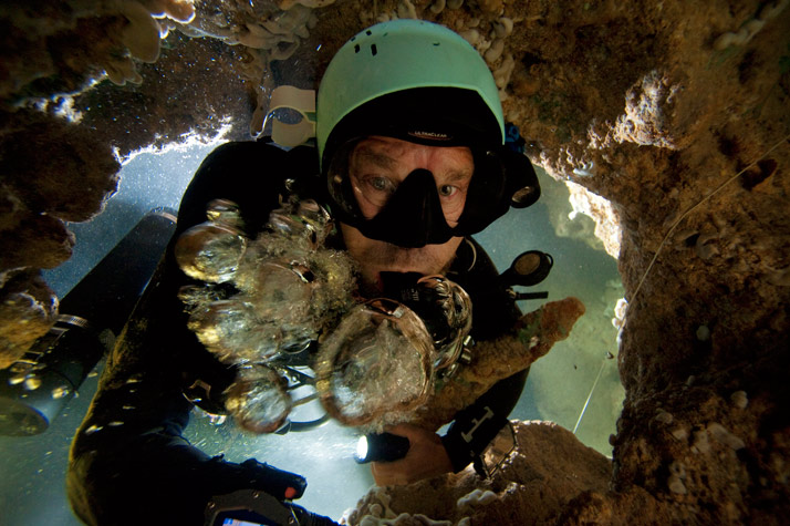 Scuba His air bubbles forced down by the current in a blue hole on Abaco, Kenny Broad fights to the surface, a stalagmite under his arm.