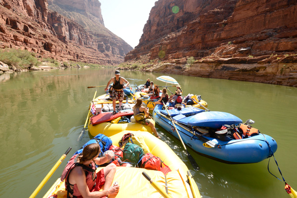 Wake rafting the Grand Canyon