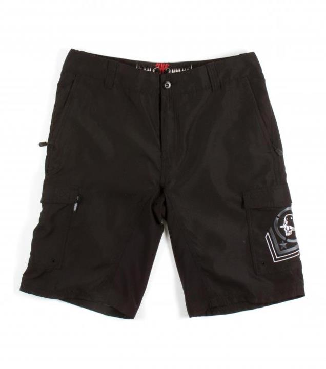 "Motorsports ASSET HYBRID SHORTS $49.99 STYLE # M13508108 Metal Mulisha 100% poly anti moss hybrid boardshort/walkshort with 23"" outseam, zip fly closure, belt loops, internal drawcord, zip closure front welt pockets, dual welt back pockets and cargo pockets with embr"