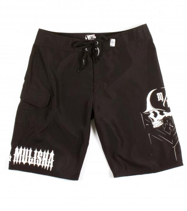 "Motorsports EXHIBIT BOARDSHORTS $34.99 STYLE # M13506100 Metal Mulisha mens 23"" outseam boardshort with comfort fly closure, screen prints at left and right leg, pocket flap with internal pocket at right leg, and MM label at waist band. http://www.metalmulisha.com/sh"