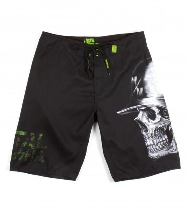 "Motorsports LUXURY BOARDSHORTS $41.99 STYLE # M13506105 Metal Mulisha 100% poly anti moss, 23"" outseam hollywood waistband boardshorts with comfort fly closure, engineered sublimation print at both legs, clip laebl at back patch pocket, and pvc label at waistband. ht"