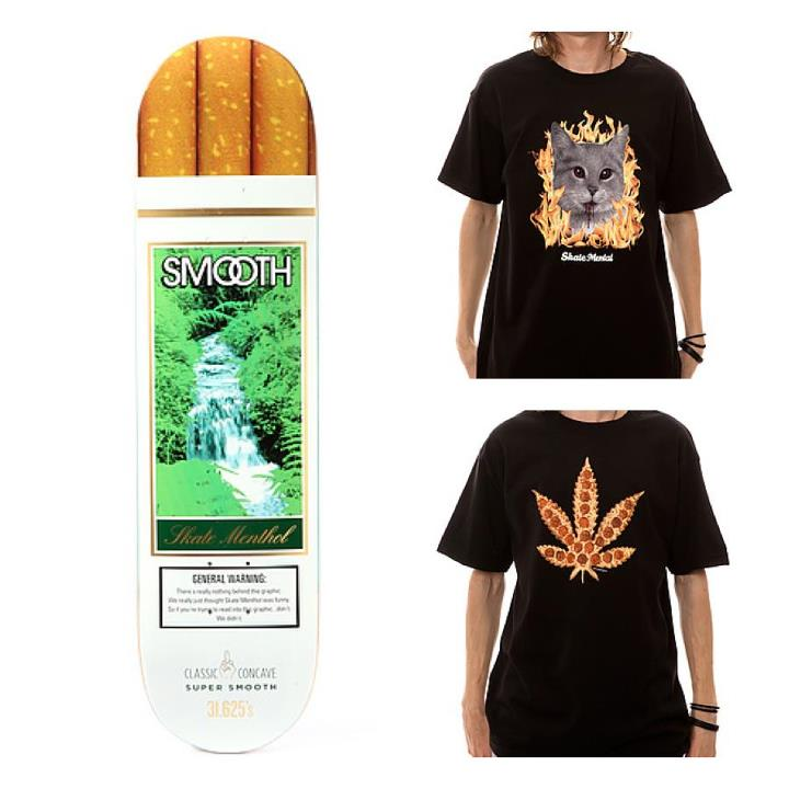 Skateboard Lots of new items from SKATE MENTAL just arrived, including a shirt featuring two of every skater's favorite things.