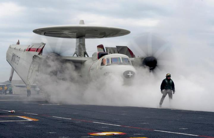 Guns and Military PACIFIC OCEAN (May 6, 2013) An E-2C Hawkeye from the Sun Kings of Carrier Airborne Early Warning Squadron (VAW) 116 prepares to launch from the aircraft carrier USS Carl Vinson (CVN 70). Carl Vinson and Carrier Air Wing (CVW) 17 are underway off the coast
